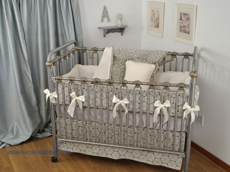 Charcoal Stencil Grey Crib Bedding