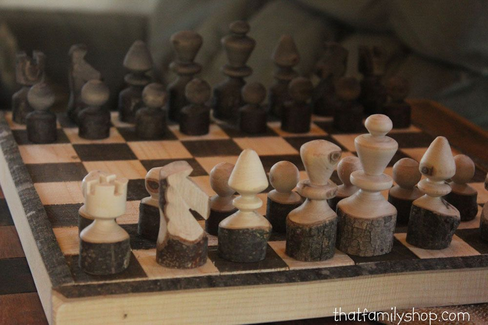 Perfect Custom Made Rustic Log Chess Set With Board