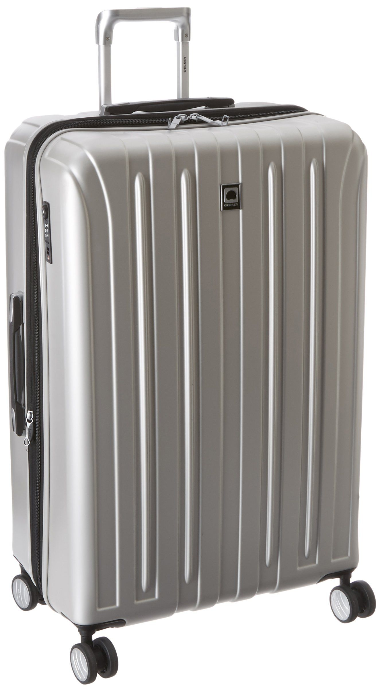 delsey luggage helium titanium  inch exp spinner trolley silver  - delsey luggage helium titanium  inch exp spinner trolley silver onesize modern