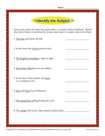 Simple Subject And Complete Subject Worksheet Activity K12reader Subject And Predicate Subject And Predicate Worksheets Subject Worksheet Subjects and verbs worksheets