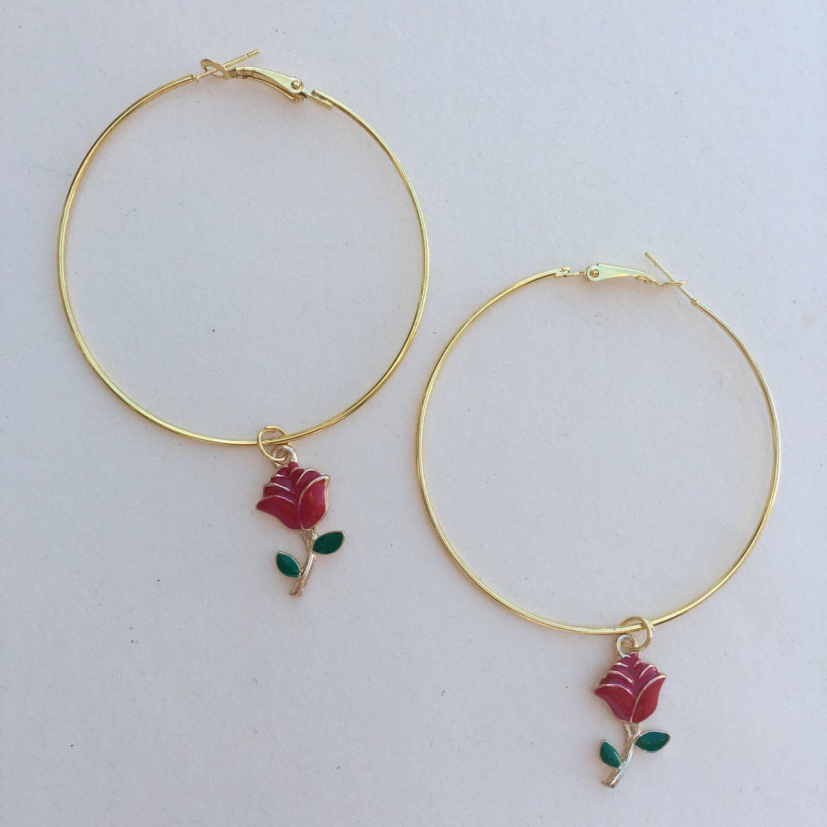Gold Hoop Earrings With Little Red Rose Charms Diameter Is Ox 2 Material Alloy Lead And Nickel Free