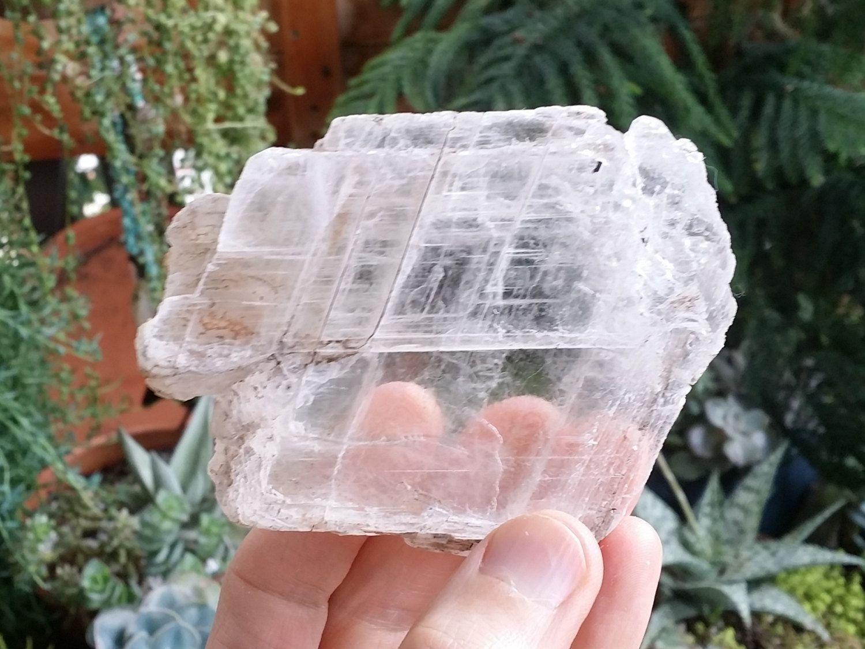 Large selenite crystal slab gypsum cleansing charging