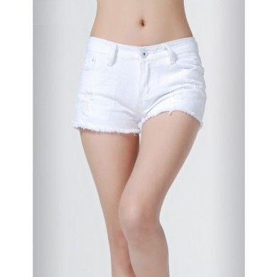 dernières conceptions diversifiées une performance supérieure riche et magnifique Mini short pour femme en jeans effet découpé classique ...