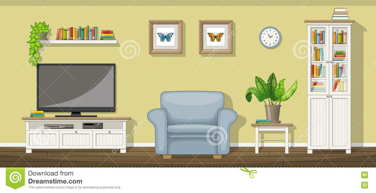 Classic Living Room Stock Vector Image Of Cartoon Television 72449261 Classic Living Room Paper Doll House Room