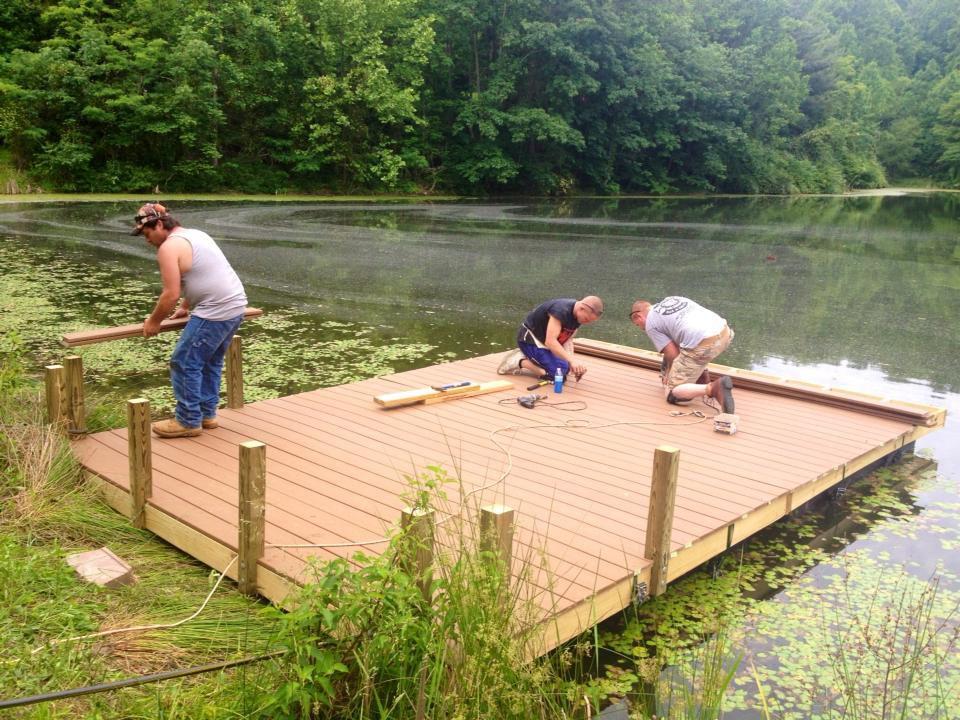 Diy floating docks floating dock on 3 acre private pond for Design of farm pond ppt