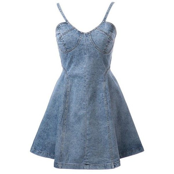 LUCLUC Blue Denim Strappy Skater Dress (81 AUD) ❤ liked on Polyvore featuring dresses, lucluc, short dresses, vestidos, denim skater dress, blue denim dress, skater dress, blue skater dress and denim mini dress