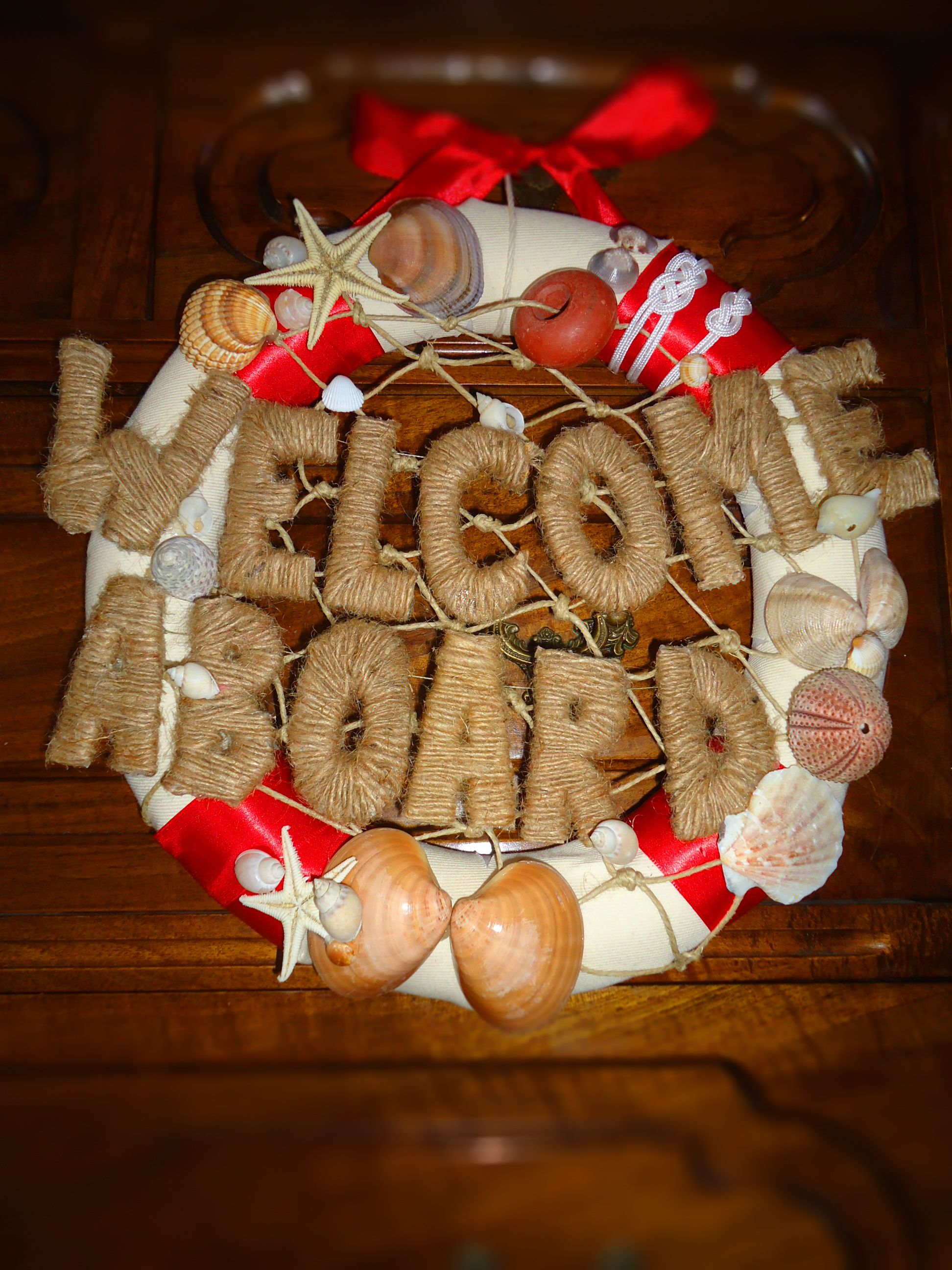 Diy Nautical Wreath Welcome Aboard Sign Decorated With Seashells