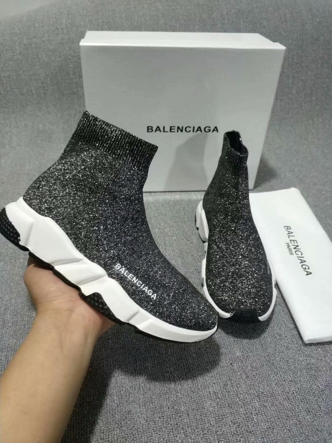 balenciaga sock shoes glitter
