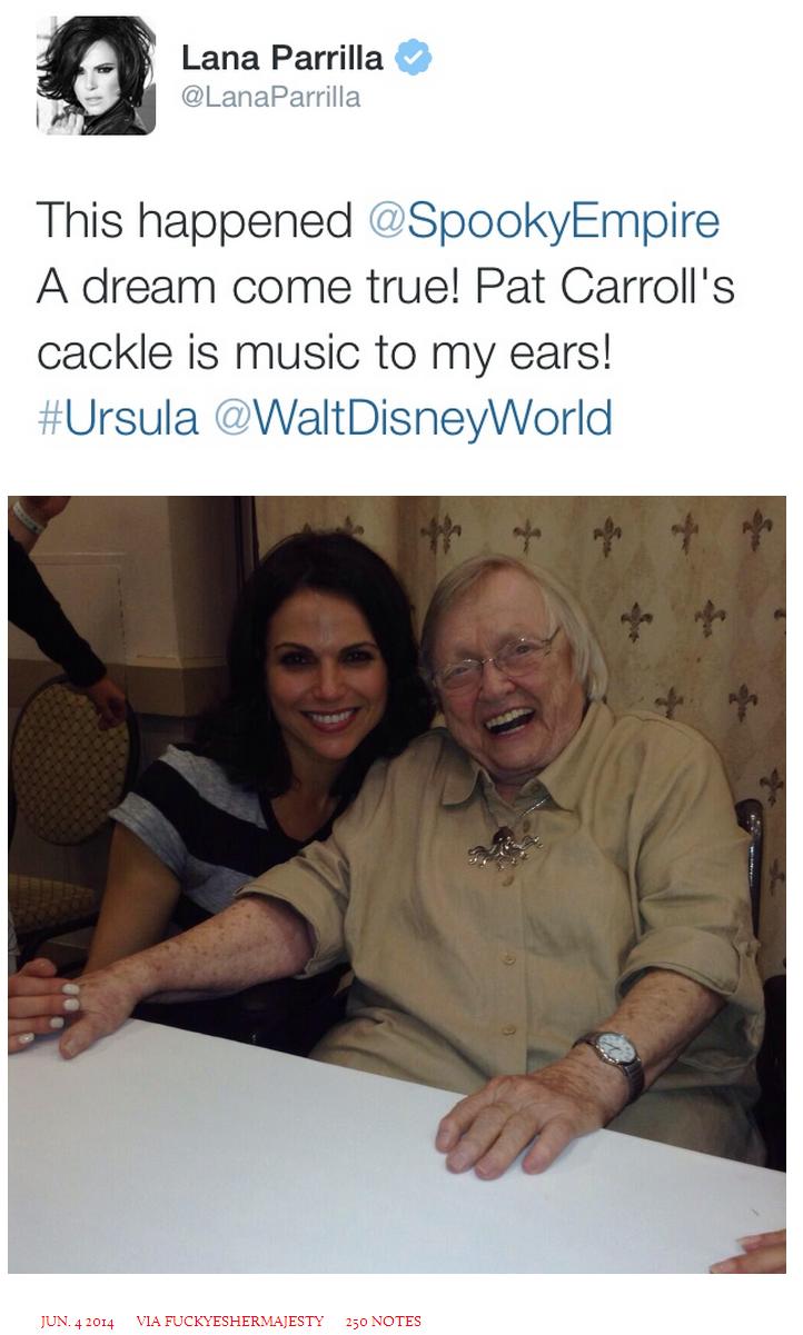 Lana Parrilla and Pat Carroll, June 1, 2014.  Evil Queen and Ursula