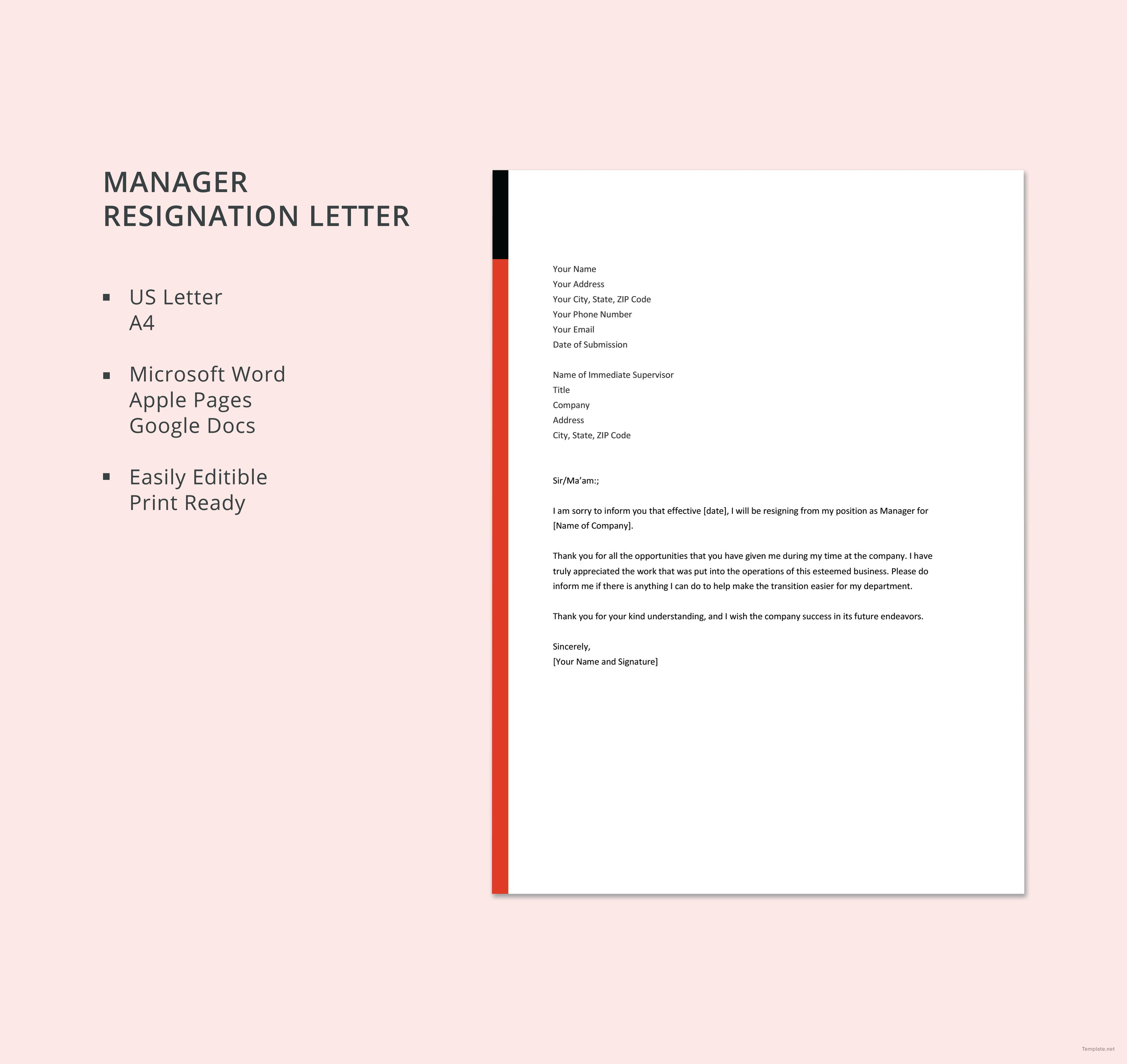 Manager Resignation Letter Template Free Pdf Word Doc Apple Mac Pages Google Docs Official Letter Format Resignation Letter Lettering Microsoft word resignation letter template