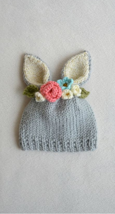 Easter Bunny Knitting Pattern : So cute!! Easter bunny hat for babies! Crochet Pinterest Patterns, So c...