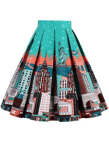 Printed Elastic Waist Green A Line Skirt | A line, Skirts and Green