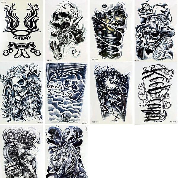 10 Sheets Temporary Tattoos Body Arm Tattoo Sticker Long