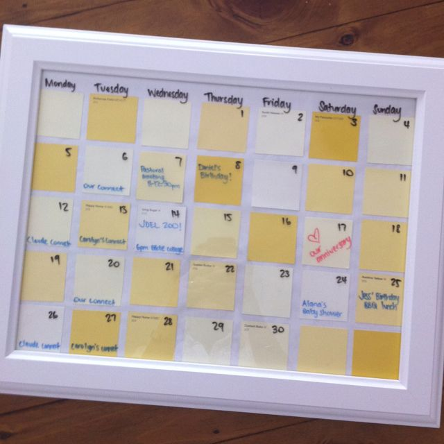 DIY calendar - paint chips behind an Ikea frame, then use whiteboard markers to mark days and numbers and appointments. All ready to be wiped clean and ready for the next month! Pretty, easy and green - no wasting paper! :)