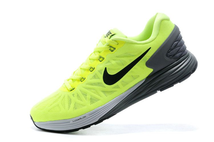 b2aeba81380d Men Boy Nike LunarGlide 6 Volt Flash Lime Dark Grey Cool Grey