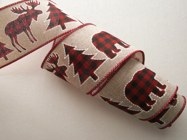 "Buffalo Check Wired Ribbon 3 Yards Trees 2.5"" Christmas Moose"