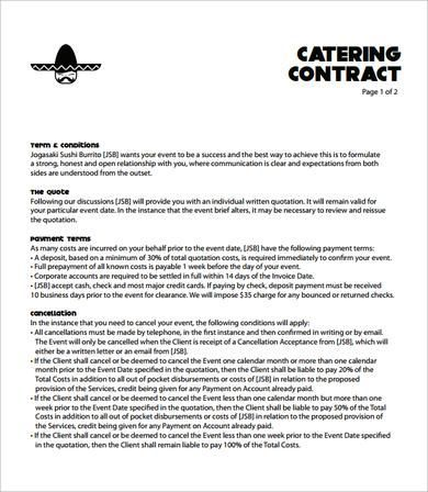 Catering Contract 7 Free Pdf Baking Catering Sample Resume