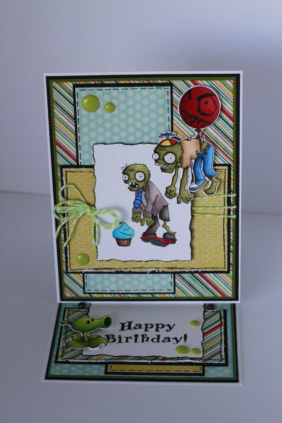 Plants Vs Zombies Easel Birthday Care Colored With Copics Birthday Cards Diy Zombie Birthday Zombie Cards