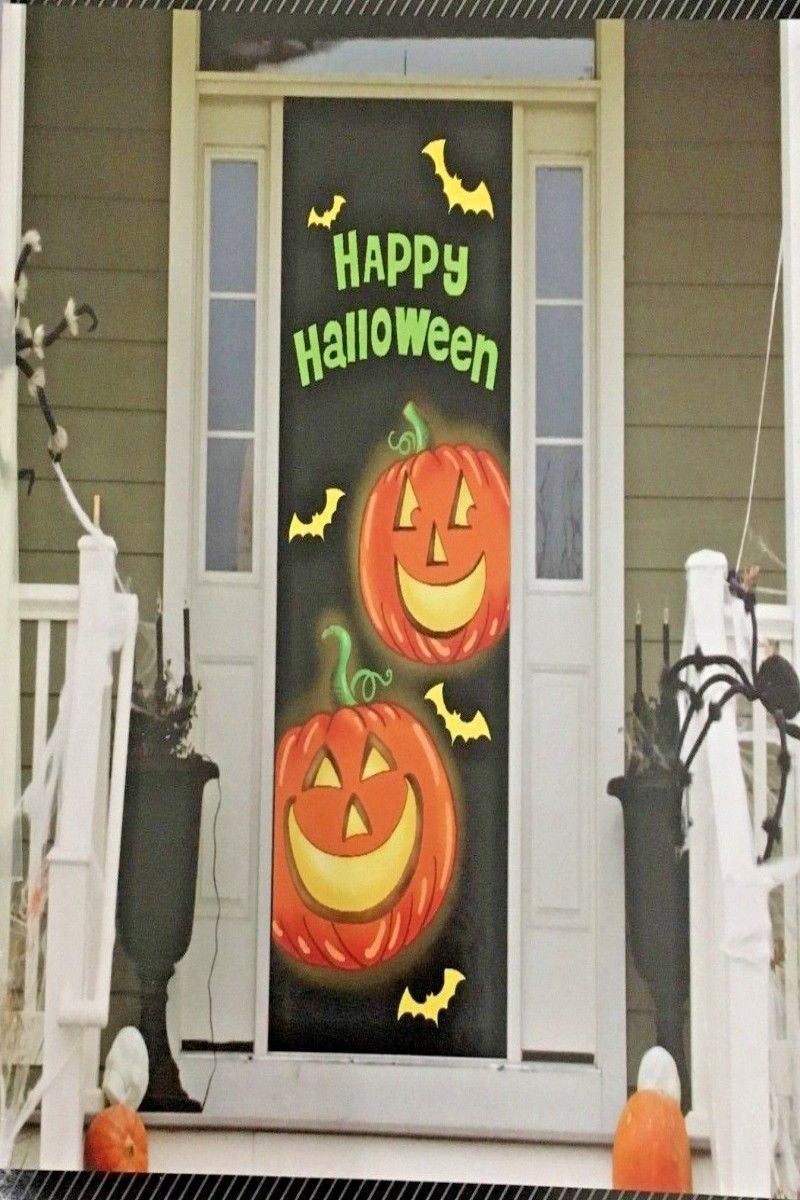 6 99 Halloween Door Covers Larger Size 30 X72 Plastic 5 Designs Party Decor Door Halloween Door Covers Larger Size With Images Halloween Happy Halloween Decor
