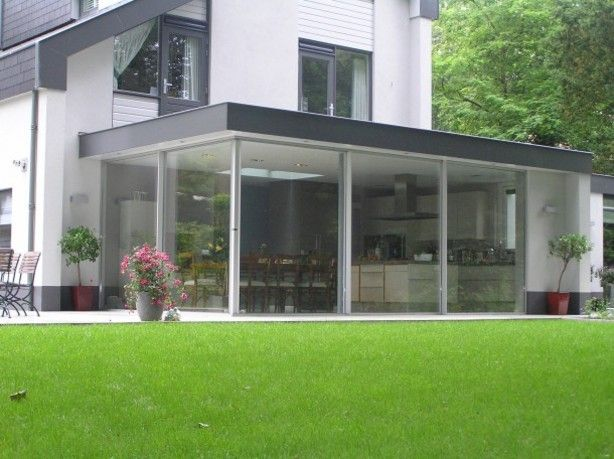 Aanbouw glas strak tuin pinterest keuken werkkamer en tuinhuis - Afscheiding glas keuken woonkamer ...