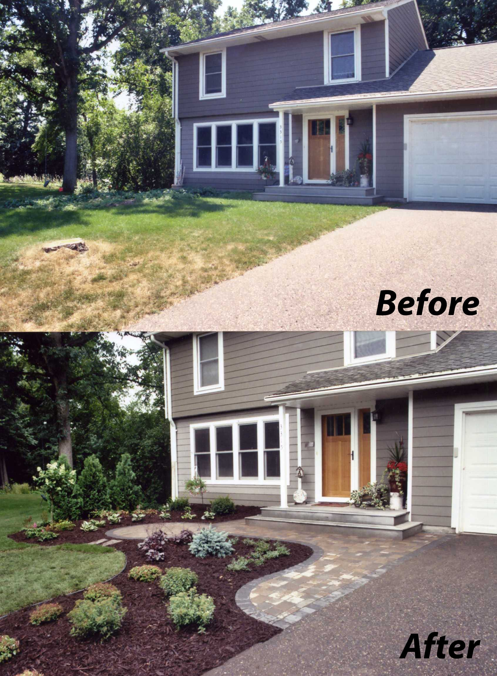 Before And After The After Shows The New Paver Entry With A Small Patio Along With Front
