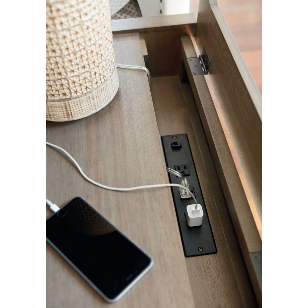 Overwhelming Nightstand With Outlets Idea As Table Lamp With Power