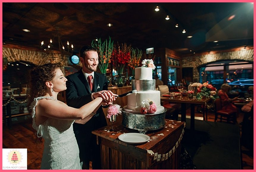Cut the cake! Cake by Elysia Root Cakes. Photo by Tuan B & Co. #chicagowedding #weddingcake