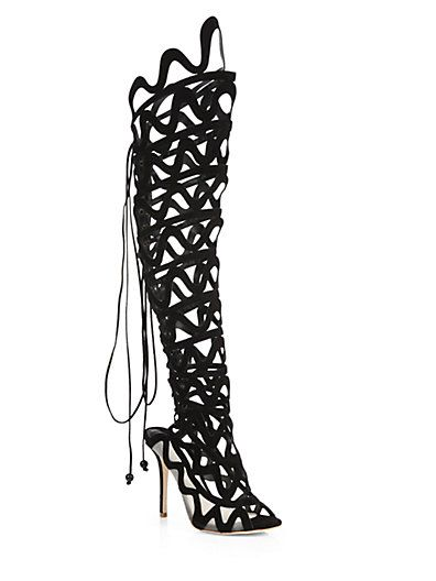 ef662a0141b Sophia Webster - Mila Suede   Mesh Over-The-Knee Cage Boots