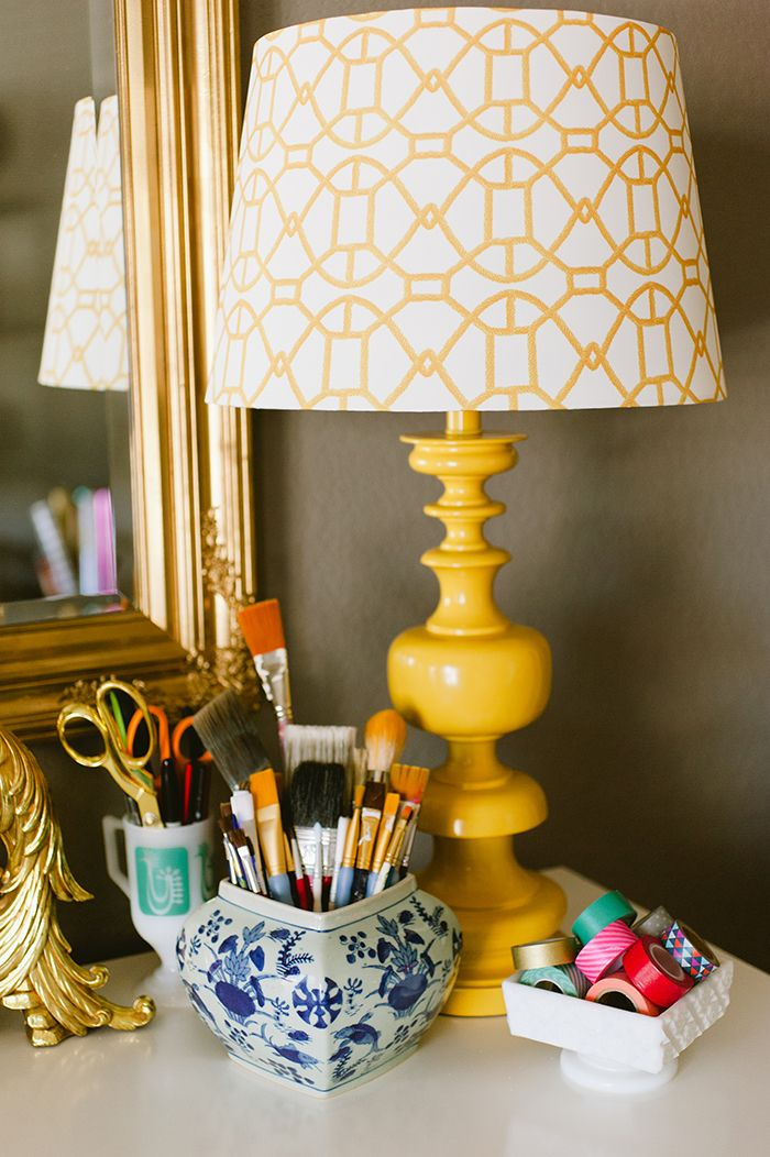 Katie taylors austin texas home tour taylor s austin texas and great idea for thrift store lamps target sells awesome printed lampshades aloadofball Images
