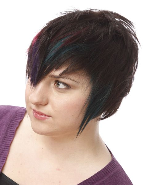 Short Straight Alternative Hairstyle Black Plum And Pink Two Tone