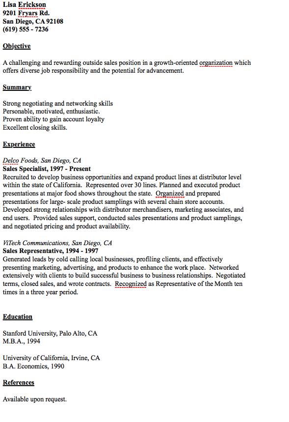 Outside Sales Resume Example - http://resumesdesign.com/outside ...