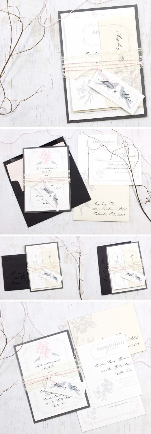Pink & Gray Loves Lace - Blush Lace Wedding Invitations, Lavender, Gray, Blush, Vintage  Fonts.