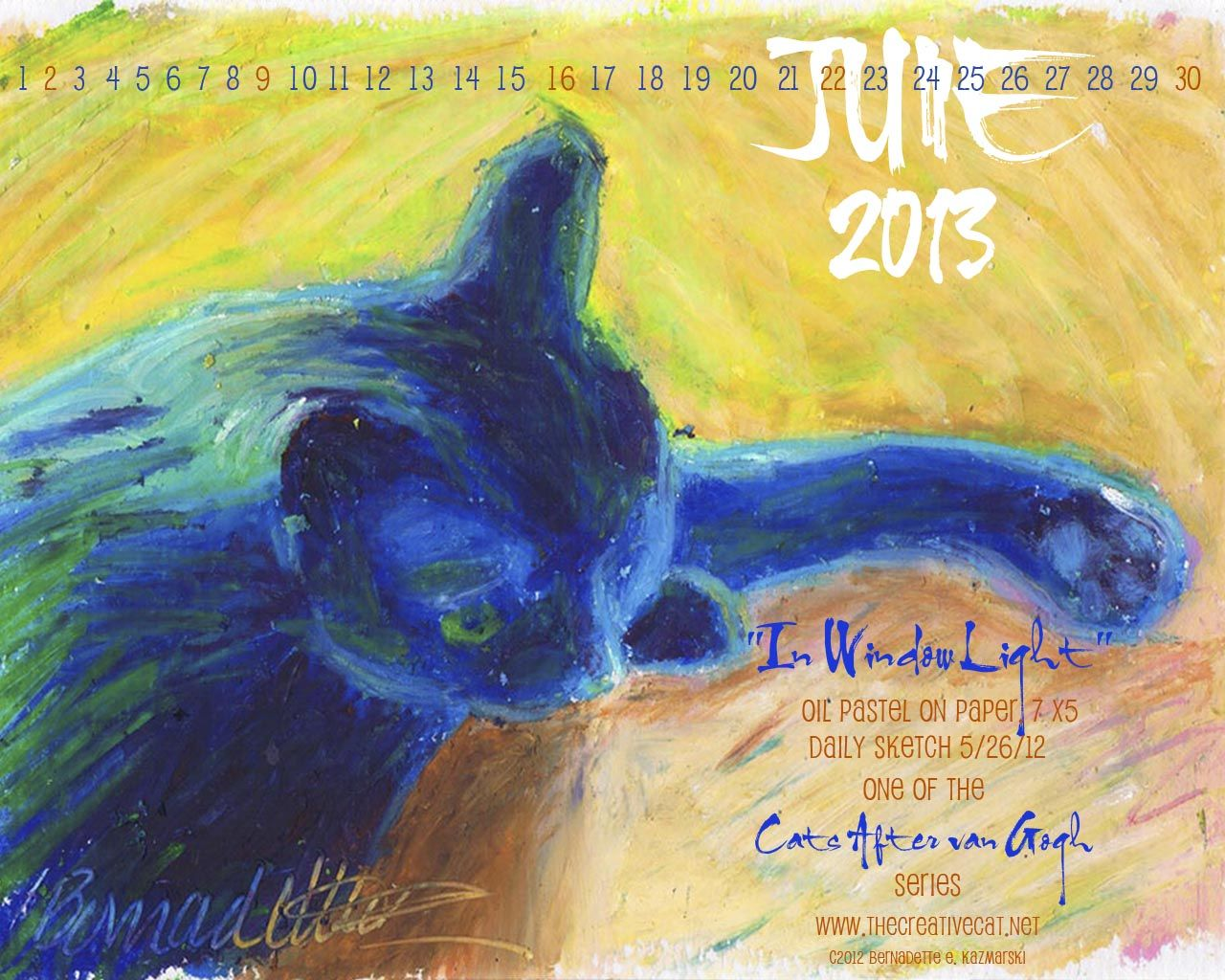 June Featured Artwork and Desktop Calendar by Bernadette E. Kazmarski
