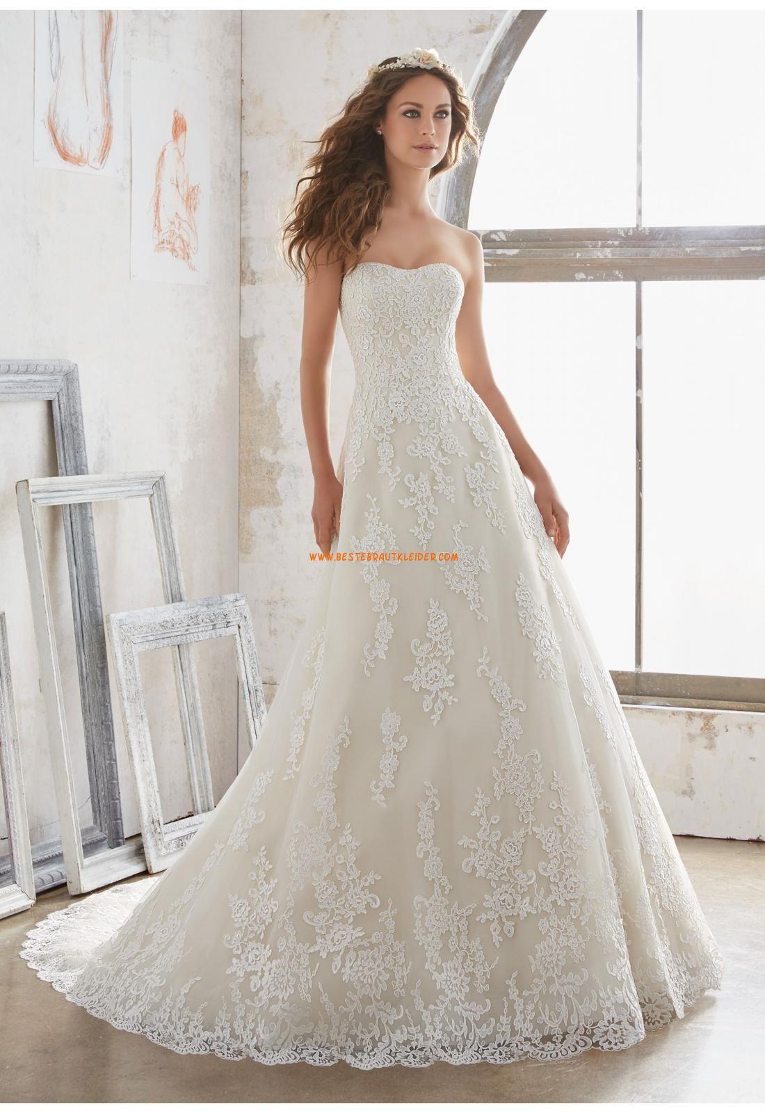 A-linie Romantische Traumhafte Brautkleider aus Spitze mit Schleppe ...