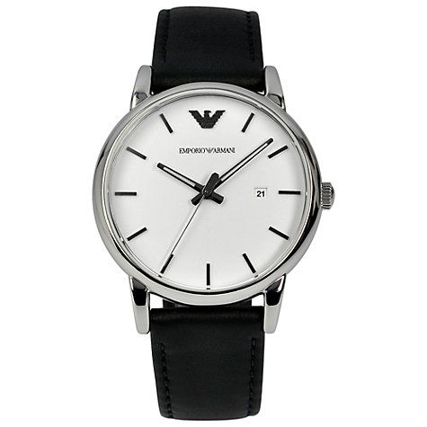 8c0f8574a Buy Emporio Armani AR1694 Men's Luigi Stainless Steel Watch, Black / White  Online at johnlewis.com