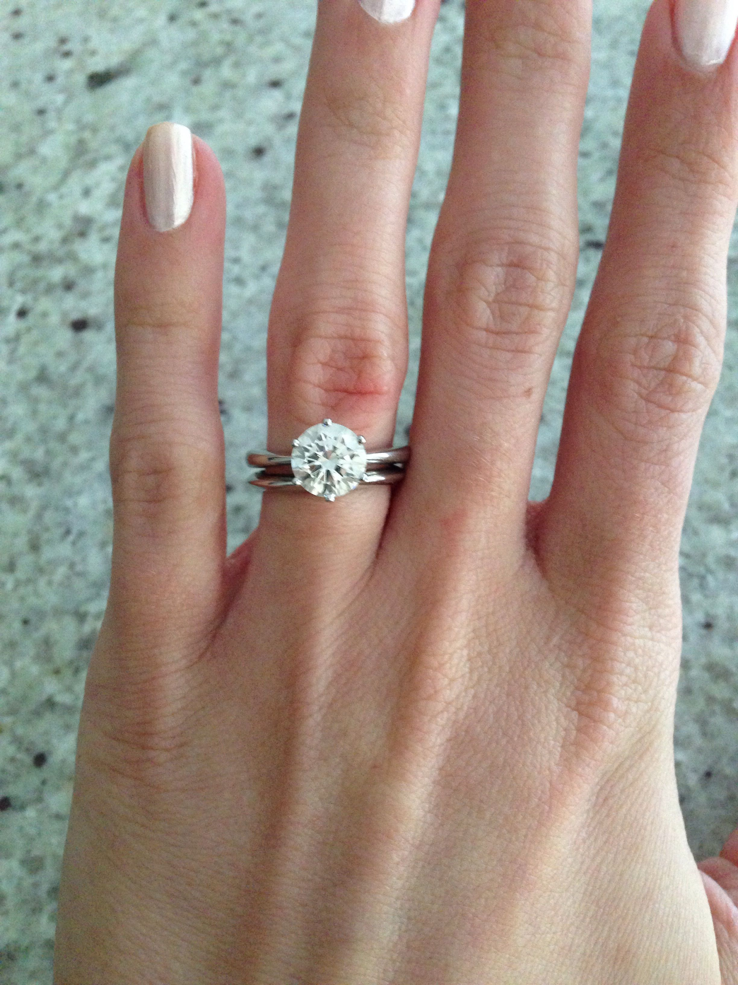 Plain Band Widths And Pictures Please Weddingbee Emerald Wedding Band Diamond Wedding Bands Engagement Ring On Hand