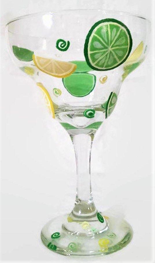 Hand painted lemon and lime margarita glass. EasternElement.Etsy.com #limemargarita Hand painted lemon and lime margarita glass. EasternElement.Etsy.com #limemargarita