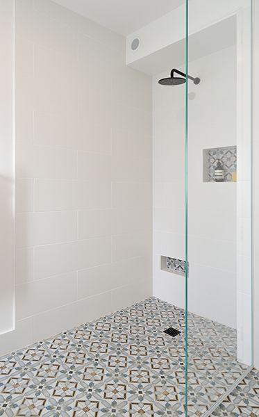 Niki & Tiff Main Bathroom featuring on the floor Demel ...