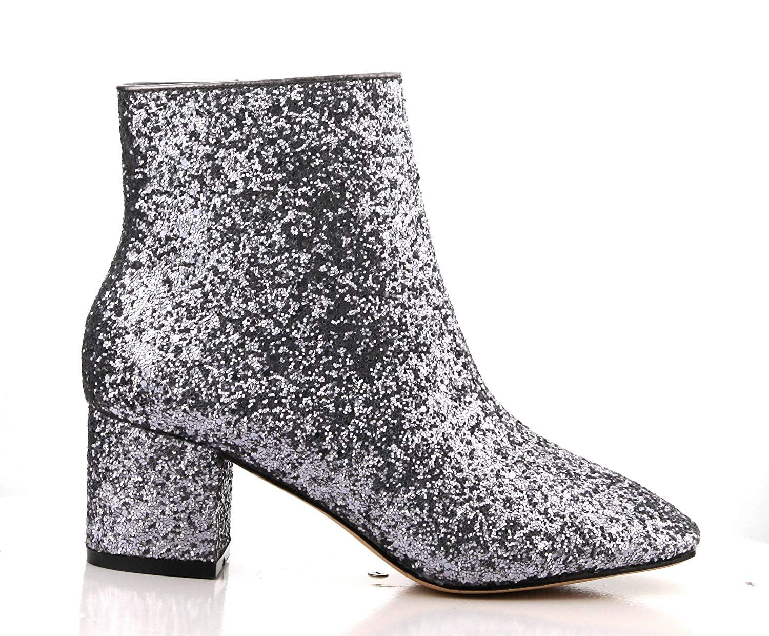 86c357b6d5d Hot Heels Shoetique Cape Robbin Tal 1 Pewter Glitter Chunky Block Heeled  Short Glitter Ankle Boots    We do hope that you actually enjoy our photo.