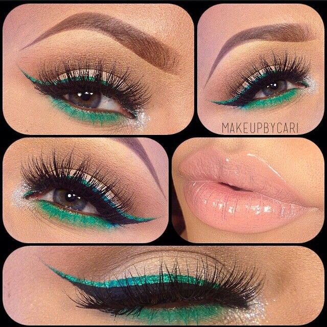 Green pink gloss makeup