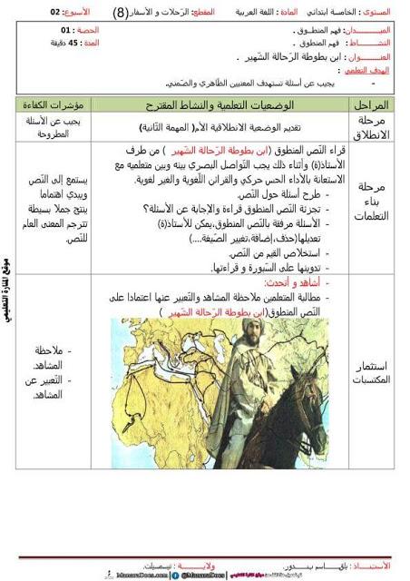 مذكرات السنة الخامسة 5 ابتدائي في اللغة العربية المقطع الثامن الاسبوع الثاني حكى ابن بطوطة Comics Aes