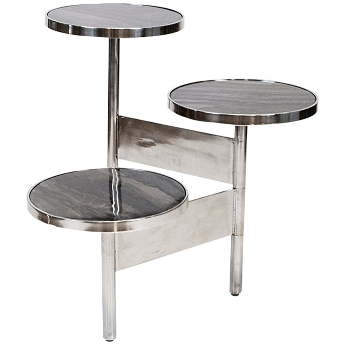 Worlds Away 3 Tier Hinged Table With Marble Tops Stainless Steel Side Table Stainless Steel Table Black Marble Side Tables