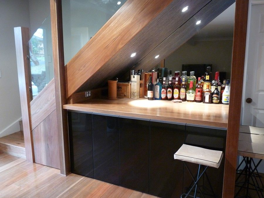 Utilizing The Space Under The Stairs To Tie In With Our Bar | Bar Under Stairs Design | Stair Storage | Basement Remodeling | Floating Shelves | Space | Escaleras