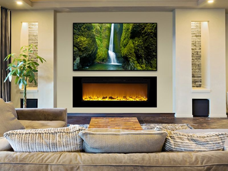contemporary living room with electric fireplace hiding a tv in the touchstone lift cabinets and fireplaces downstairs