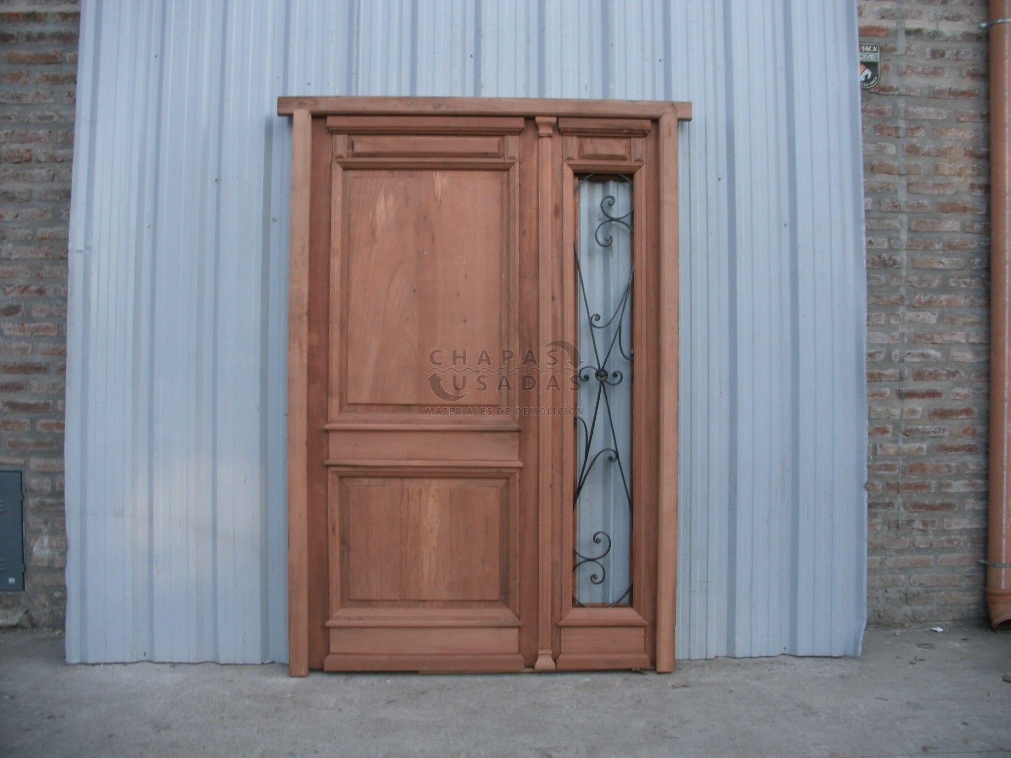 Puerta de frente de madera en pinotea a una hoja y media for Puerta casa antigua