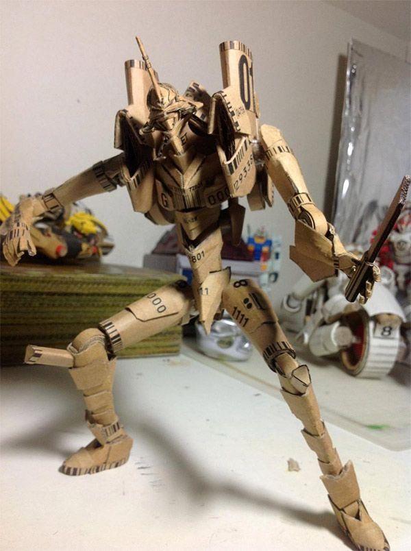 Transforming Cardboard Anime Character Make Neon Genesis Evangelion Cardboard Art Evangelion