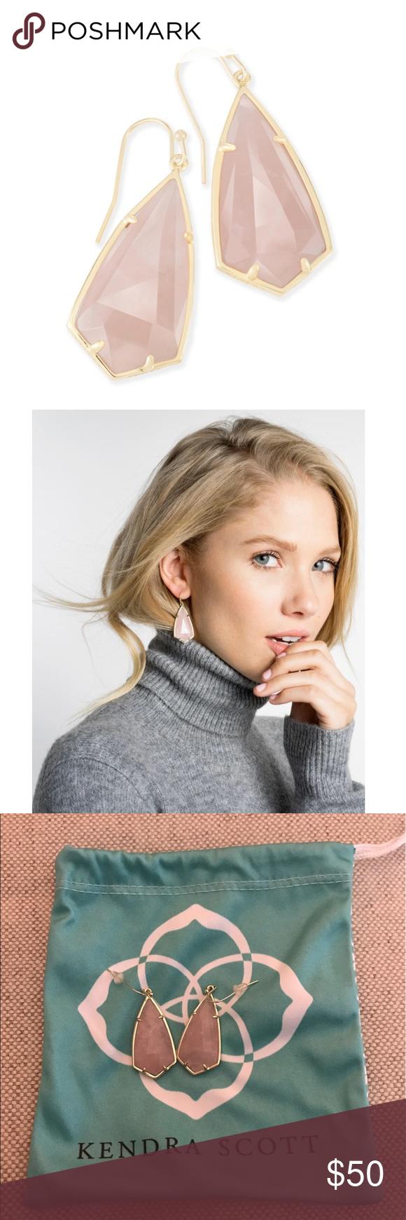 """Kendra Scott Rose Quartz Carla Earrings • 14K Gold Plated Over Brass • Size: 1.85""""L x 0.72""""W on earwire • Material: rose quartz Kendra Scott Jewelry Earrings"""