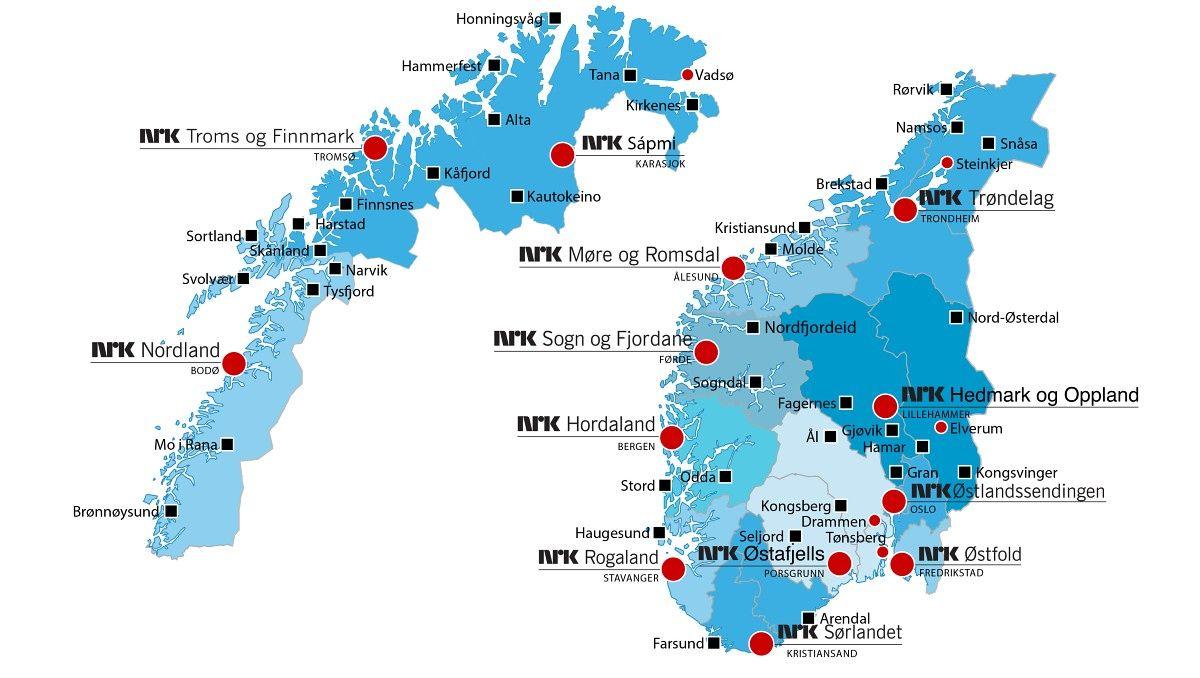 NRK - avdelinger landet rundt (pr sept 2013) - NRK har 56 avdelingar rundt om i Noreg - og hovudsetet sitt på Marienlyst i Oslo. Rundt 2 000 arbeider i Oslo og 1500 andre stader i landet. NRK