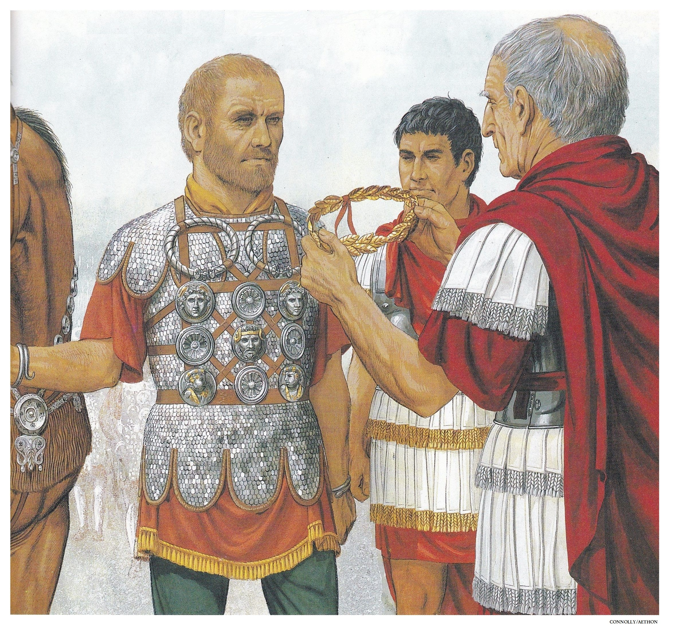 The Roman soldier & cavalry officer, Tiberius Claudius Maximus, being decorated by Trajan, after serving for nearly thirty years. (1st century AD.) (Peter Connolly/Dacian Wars/user: Aethon)