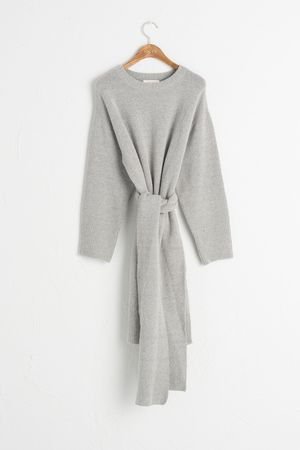 Scarf Set Knit Dress, Grey